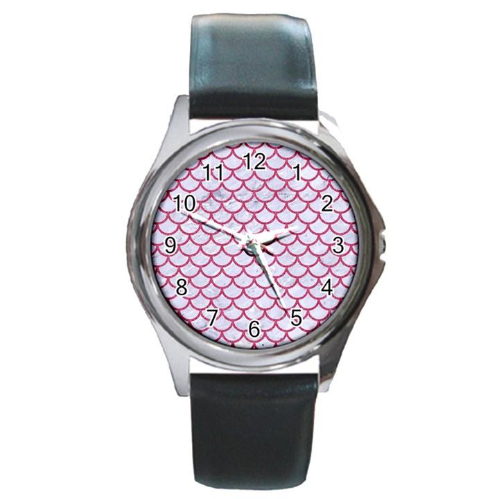 SCALES1 WHITE MARBLE & PINK DENIM (R) Round Metal Watch