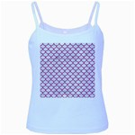 SCALES1 WHITE MARBLE & PINK DENIM (R) Baby Blue Spaghetti Tank Front
