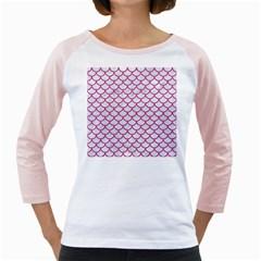Scales1 White Marble & Pink Denim (r) Girly Raglans