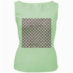 SCALES1 WHITE MARBLE & PINK DENIM (R) Women s Green Tank Top Front