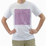 SCALES1 WHITE MARBLE & PINK DENIM (R) Men s T-Shirt (White) (Two Sided) Front