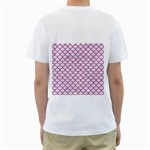 SCALES1 WHITE MARBLE & PINK DENIM (R) Men s T-Shirt (White) (Two Sided) Back