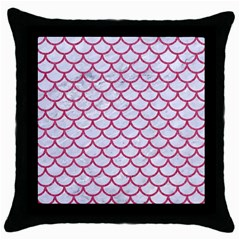 Scales1 White Marble & Pink Denim (r) Throw Pillow Case (black) by trendistuff