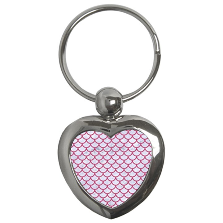 SCALES1 WHITE MARBLE & PINK DENIM (R) Key Chains (Heart)