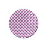 SCALES1 WHITE MARBLE & PINK DENIM (R) Rubber Coaster (Round)  Front