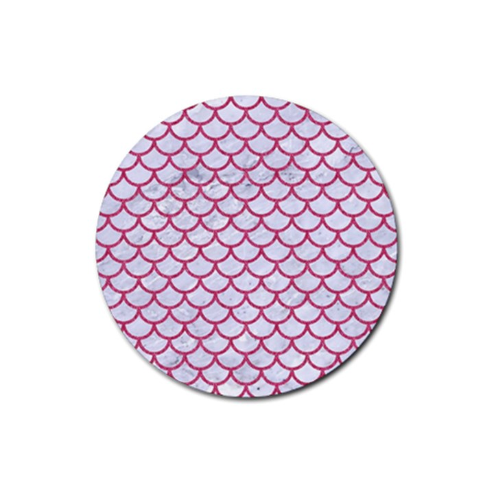 SCALES1 WHITE MARBLE & PINK DENIM (R) Rubber Coaster (Round)