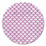 SCALES1 WHITE MARBLE & PINK DENIM (R) Magnet 5  (Round) Front