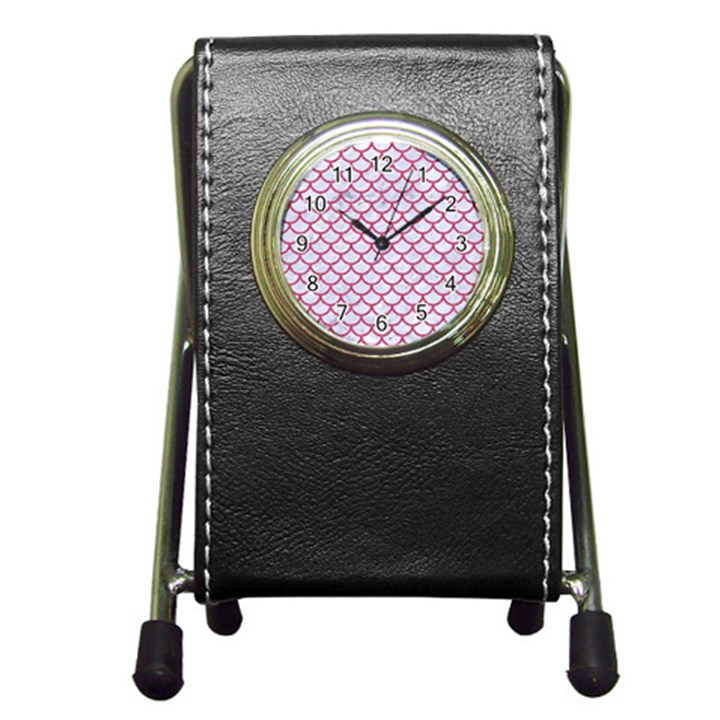 SCALES1 WHITE MARBLE & PINK DENIM (R) Pen Holder Desk Clocks