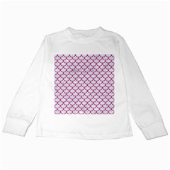 Scales1 White Marble & Pink Denim (r) Kids Long Sleeve T Shirts