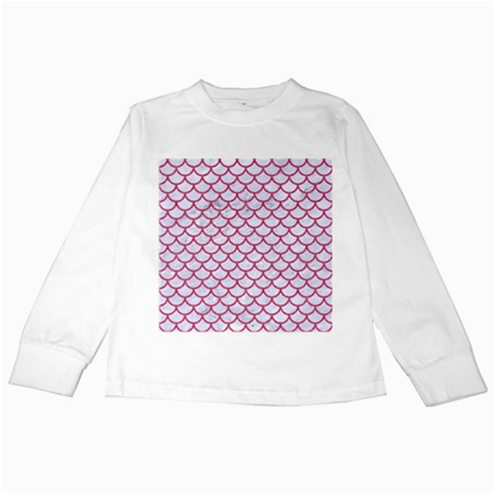 SCALES1 WHITE MARBLE & PINK DENIM (R) Kids Long Sleeve T-Shirts