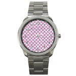 SCALES1 WHITE MARBLE & PINK DENIM (R) Sport Metal Watch Front