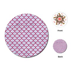 Scales1 White Marble & Pink Denim (r) Playing Cards (round)  by trendistuff