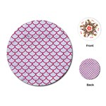 SCALES1 WHITE MARBLE & PINK DENIM (R) Playing Cards (Round)  Front
