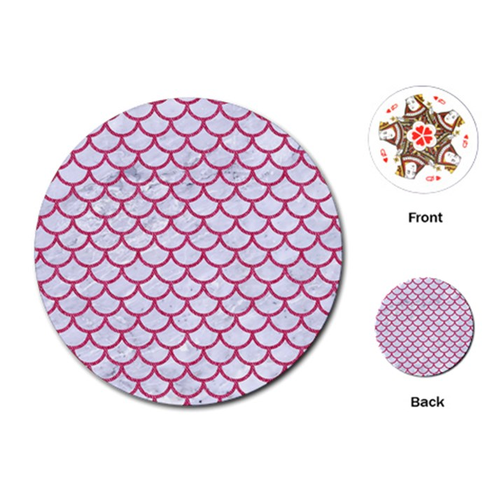 SCALES1 WHITE MARBLE & PINK DENIM (R) Playing Cards (Round)