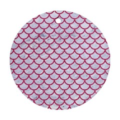 Scales1 White Marble & Pink Denim (r) Round Ornament (two Sides)
