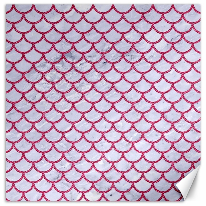 SCALES1 WHITE MARBLE & PINK DENIM (R) Canvas 12  x 12