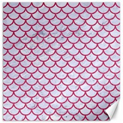 Scales1 White Marble & Pink Denim (r) Canvas 16  X 16