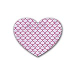 SCALES1 WHITE MARBLE & PINK DENIM (R) Rubber Coaster (Heart)  Front