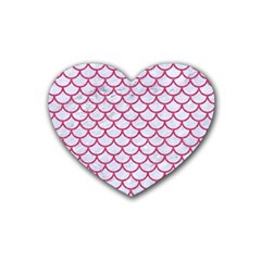 Scales1 White Marble & Pink Denim (r) Heart Coaster (4 Pack)