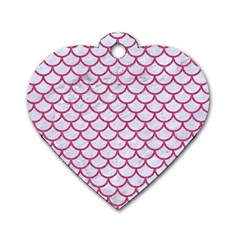 Scales1 White Marble & Pink Denim (r) Dog Tag Heart (one Side)