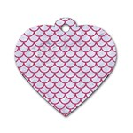 SCALES1 WHITE MARBLE & PINK DENIM (R) Dog Tag Heart (One Side) Front