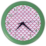 SCALES1 WHITE MARBLE & PINK DENIM (R) Color Wall Clocks Front