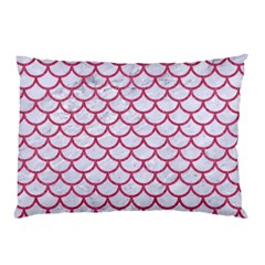 Scales1 White Marble & Pink Denim (r) Pillow Case by trendistuff