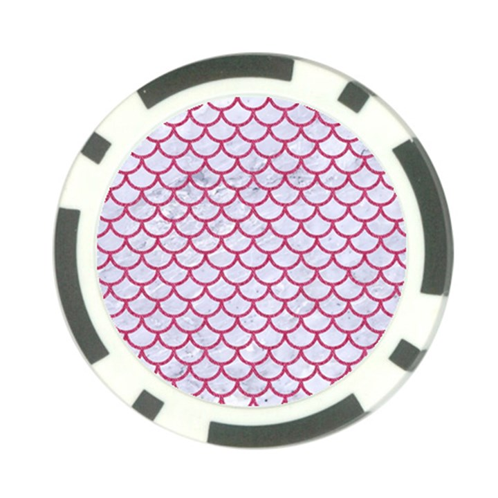 SCALES1 WHITE MARBLE & PINK DENIM (R) Poker Chip Card Guard (10 pack)