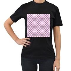 Scales1 White Marble & Pink Denim (r) Women s T Shirt (black)