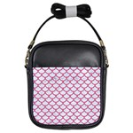 SCALES1 WHITE MARBLE & PINK DENIM (R) Girls Sling Bags Front