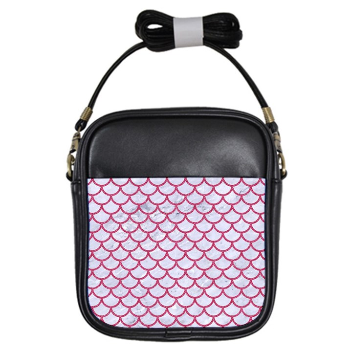 SCALES1 WHITE MARBLE & PINK DENIM (R) Girls Sling Bags