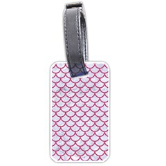 Scales1 White Marble & Pink Denim (r) Luggage Tags (one Side)