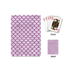 Scales1 White Marble & Pink Denim (r) Playing Cards (mini)  by trendistuff