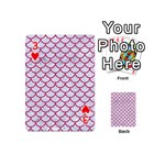 SCALES1 WHITE MARBLE & PINK DENIM (R) Playing Cards 54 (Mini)  Front - Heart3