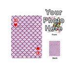 SCALES1 WHITE MARBLE & PINK DENIM (R) Playing Cards 54 (Mini)  Front - Heart10