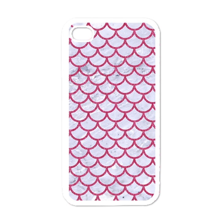 SCALES1 WHITE MARBLE & PINK DENIM (R) Apple iPhone 4 Case (White)