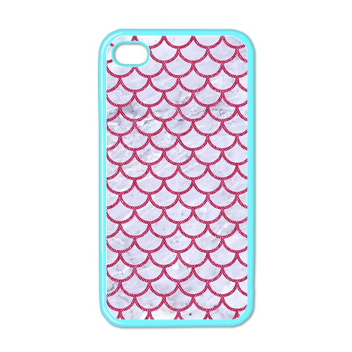 SCALES1 WHITE MARBLE & PINK DENIM (R) Apple iPhone 4 Case (Color)