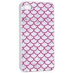 SCALES1 WHITE MARBLE & PINK DENIM (R) Apple iPhone 4/4s Seamless Case (White) Front