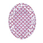 SCALES1 WHITE MARBLE & PINK DENIM (R) Ornament (Oval Filigree) Front