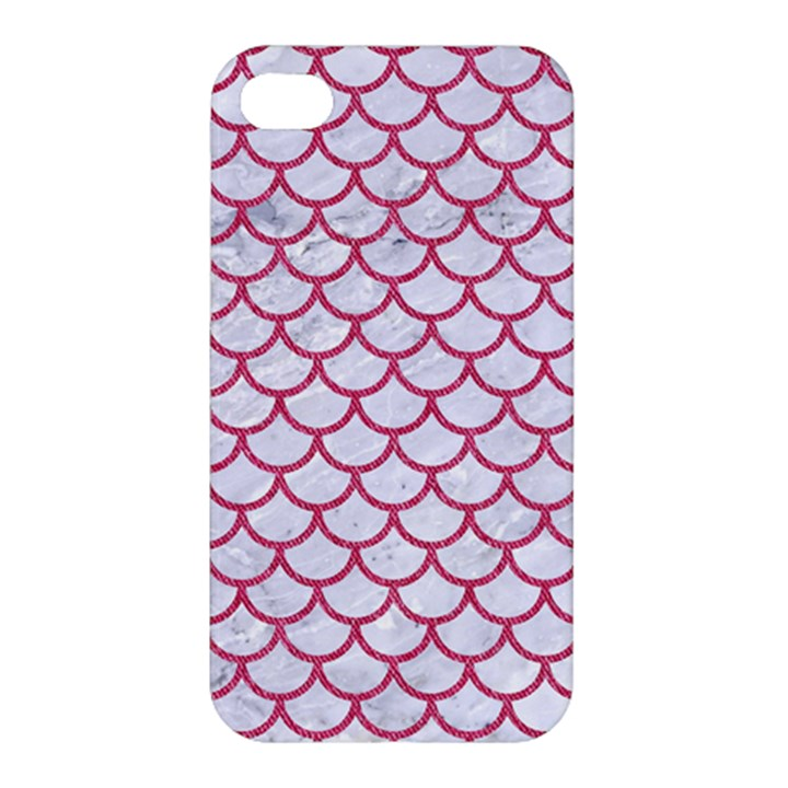 SCALES1 WHITE MARBLE & PINK DENIM (R) Apple iPhone 4/4S Hardshell Case
