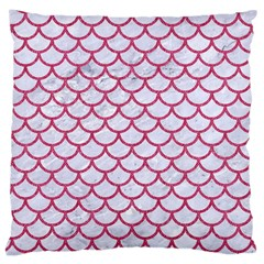 Scales1 White Marble & Pink Denim (r) Large Cushion Case (one Side) by trendistuff