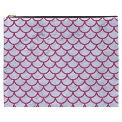 Scales1 White Marble & Pink Denim (r) Cosmetic Bag (xxxl)