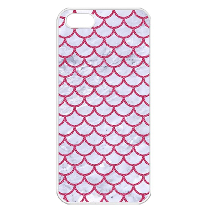 SCALES1 WHITE MARBLE & PINK DENIM (R) Apple iPhone 5 Seamless Case (White)