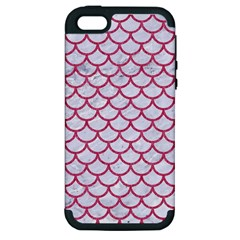 Scales1 White Marble & Pink Denim (r) Apple Iphone 5 Hardshell Case (pc+silicone)