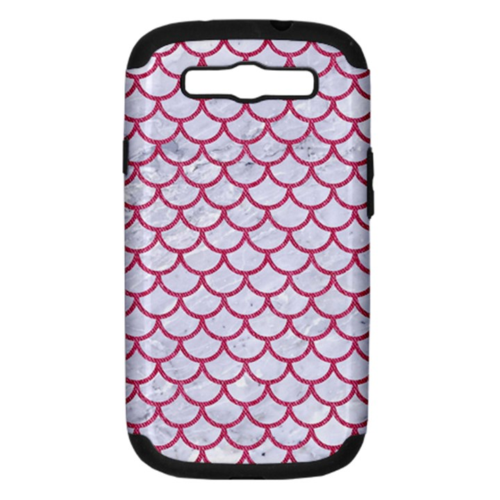SCALES1 WHITE MARBLE & PINK DENIM (R) Samsung Galaxy S III Hardshell Case (PC+Silicone)