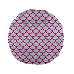 Scales1 White Marble & Pink Denim (r) Standard 15  Premium Round Cushions