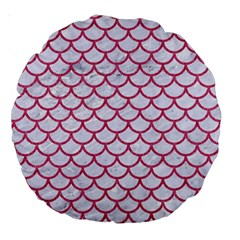 Scales1 White Marble & Pink Denim (r) Large 18  Premium Round Cushions