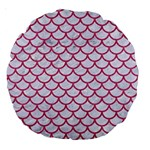 SCALES1 WHITE MARBLE & PINK DENIM (R) Large 18  Premium Round Cushions Back