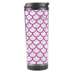 Scales1 White Marble & Pink Denim (r) Travel Tumbler