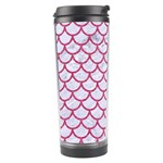 SCALES1 WHITE MARBLE & PINK DENIM (R) Travel Tumbler Left